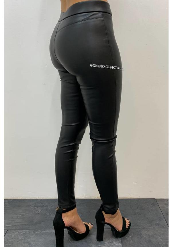 BLACK - 'REBEC' - LEATHER BIKER PANTS