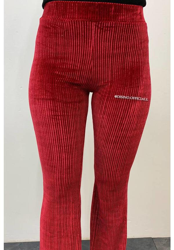 RED - 'FAY' - VELVET RIBBED FLARED PANTS