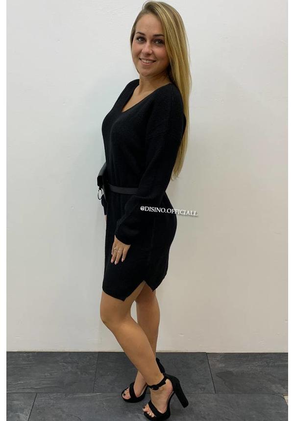 BLACK - 'CAROLA' - PREMIUM QUALITY KNITTED DRESS
