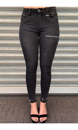 QUEEN HEARTS JEANS - DARK GREY - SKINNY PIERCE N ZIP - 9445