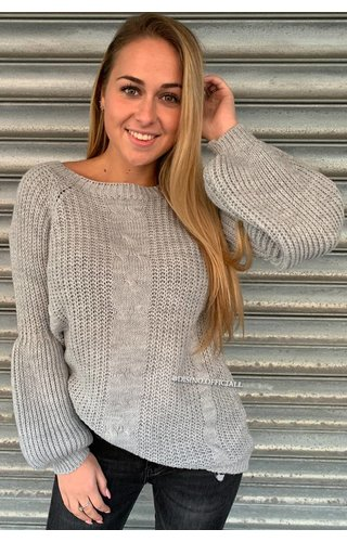 LIGHT GREY - 'SOPHIA' - KNITTED COTTON FEEL SWEATER POFMOUW