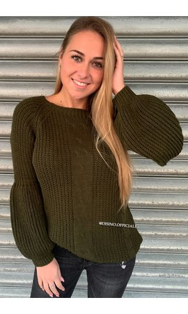 OLIVE GREEN - 'SOPHIA' - KNITTED COTTON FEEL SWEATER POFMOUW