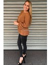 BROWN - 'SOPHIA' - KNITTED COTTON FEEL SWEATER POFMOUW