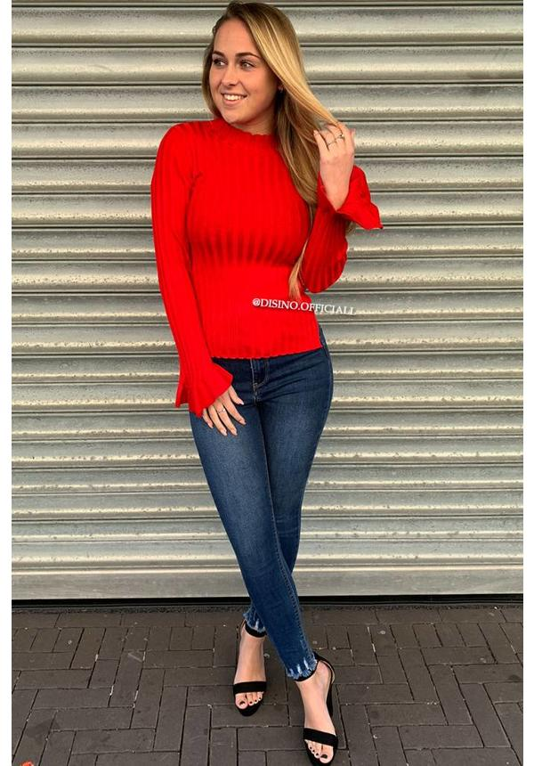 RED - 'MADDY' - RIBBED BELL SLEEVE TOP