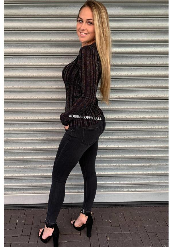 BLACK - 'LUCA' - COLORFULL SPARKLE RIBBED LONG SLEEVE TOP
