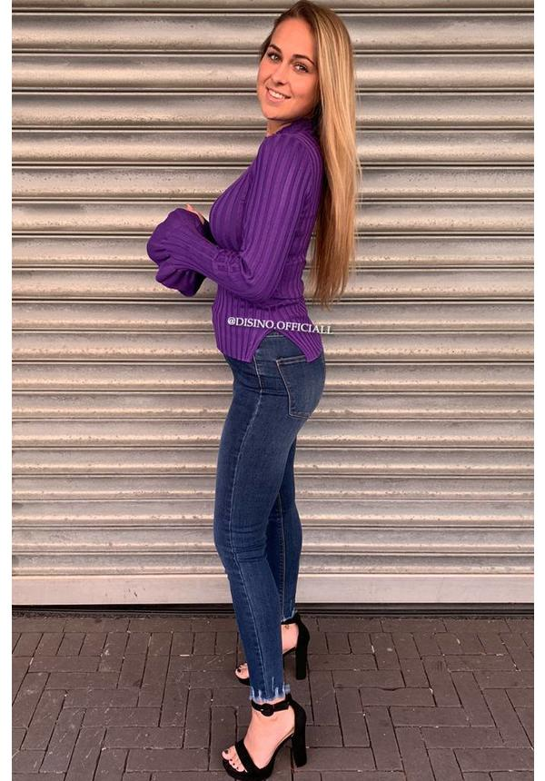 PURPLE - 'MADDY' - RIBBED BELL SLEEVE TOP