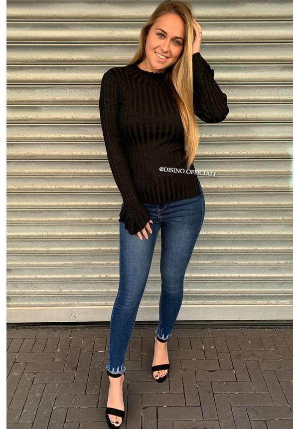 GLITTERLY BLACK - 'MADDY' - RIBBED BELL SLEEVE TOP