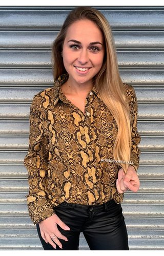 BROWN - 'SADÉ' - SNAKE PRINT BLOUSE