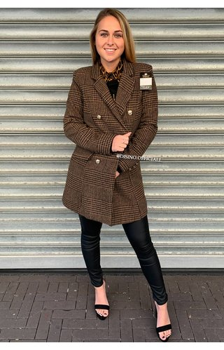 BROWN - 'DORA' - GOLD BUTTON PLAID OVERCOAT
