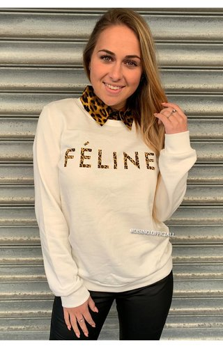 WHITE - 'FELINE CELINE' - LEOPARD TEXT SWEATER