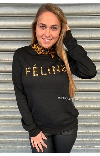 BLACK - 'FELINE CELINE' - LEOPARD TEXT SWEATER
