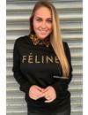 BLACK - 'FELINE CELINE' - LEOPARD TEXT SWEATER