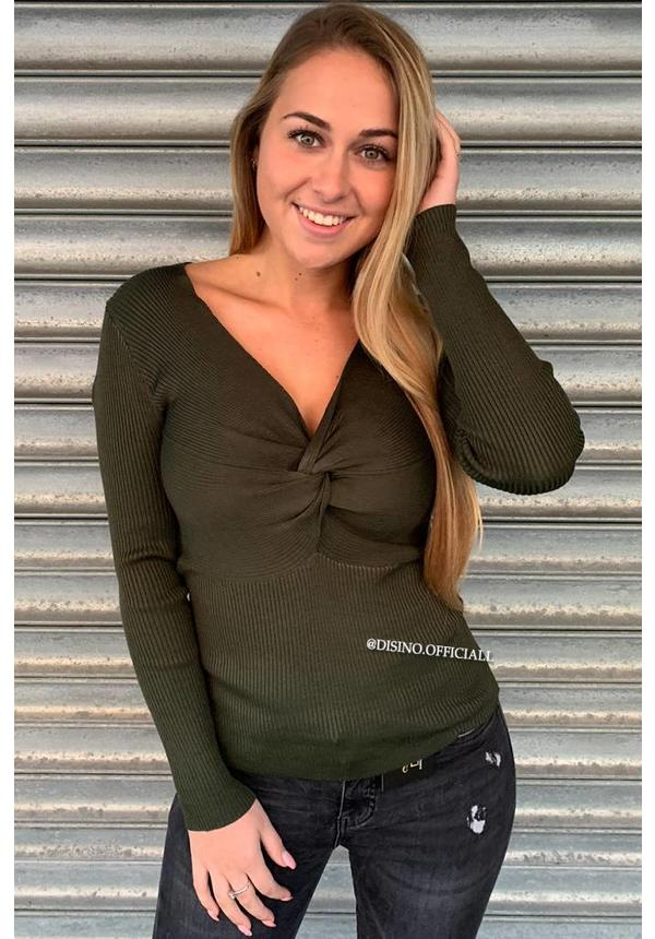 OLIVE GREEN - 'KELLY' - RIBBED LONG SLEEVE KNOT TOP