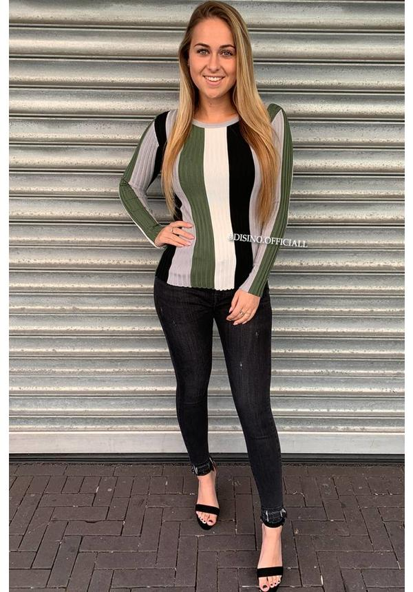 GREEN - 'MARLON' - VERTICAL STRIPED RIBBED TOP