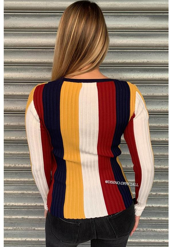 NAVY - 'MARLON' - VERTICAL STRIPED RIBBED TOP