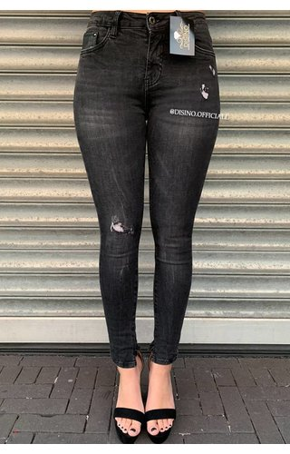 QUEEN HEARTS JEANS - DARK GREY - SKINNY DISTRESSED MID HIGH WAIST - 9305