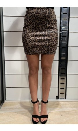 BROWN LEOPARD - 'LENNA' - SHINY LEOPARD PRINT SKIRT