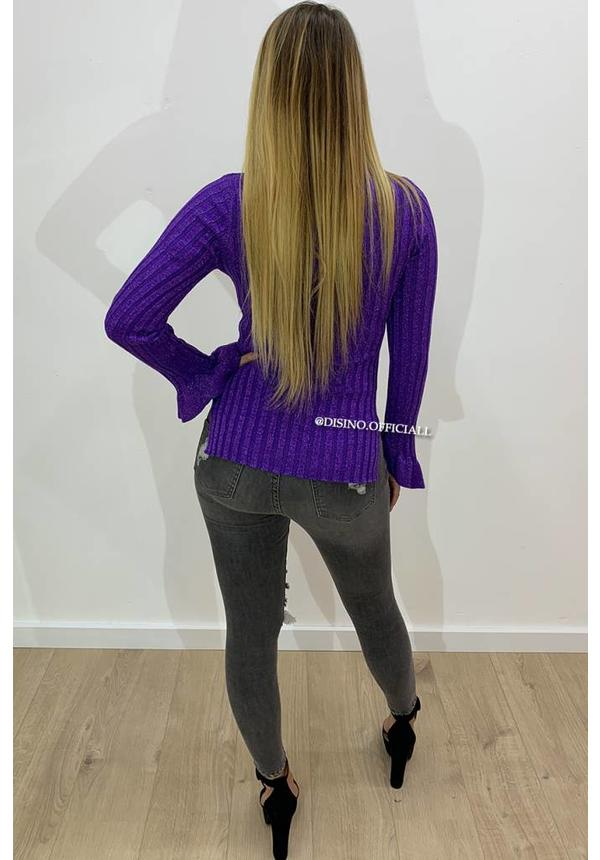 GLITTERLY PURPLE - 'MADDY' - RIBBED BELL SLEEVE TOP