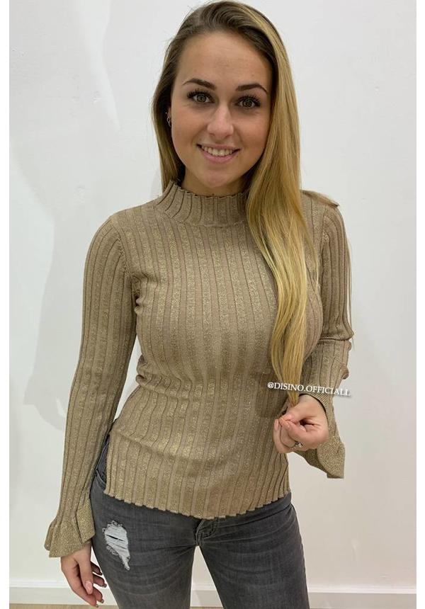 GLITTERLY BEIGE - 'MADDY' - RIBBED BELL SLEEVE TOP