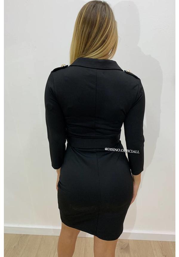 BLACK - 'LAUREN' - PREMIUM QUALITY CLASSY GOLD BUTTON DRESS