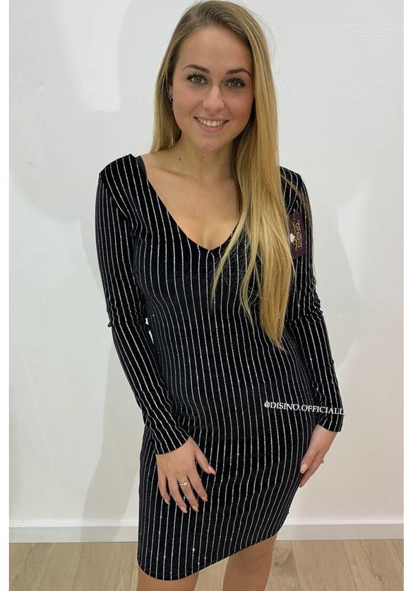 BLACK - 'GWEN' - VELVET V-DRESS WITH GLITTER STRIPES