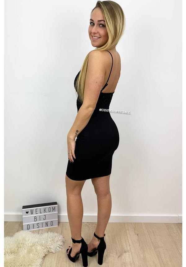 BLACK - 'LIANA' - SEXY CROCHET LACE DRESS