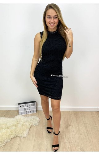 BLACK - 'MELISSA' LACE MIDI DRESS
