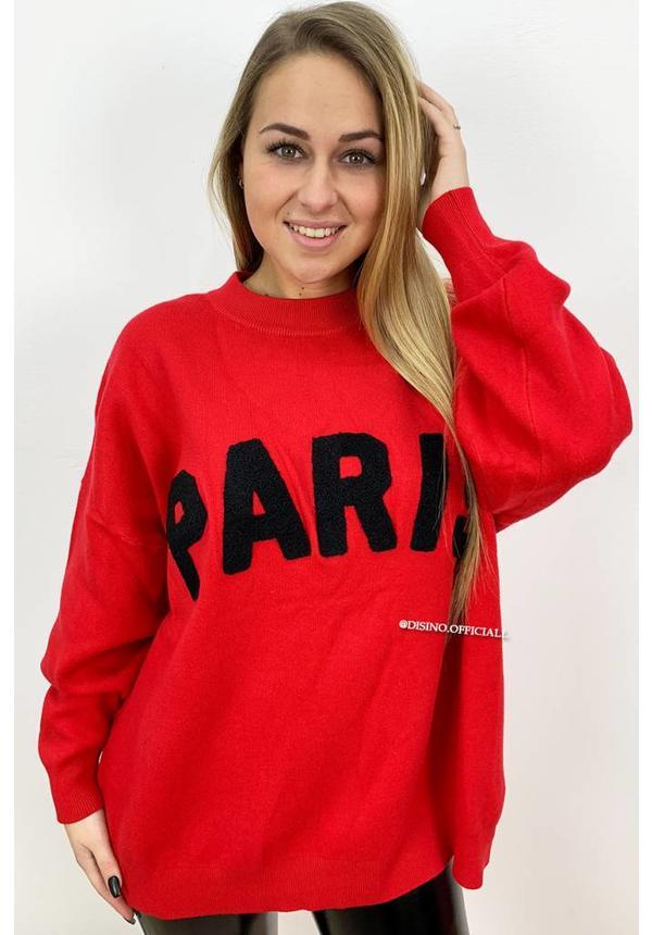 RED - 'PARIS' - PREMIUM QUALITY OVERSIZED SWEATER