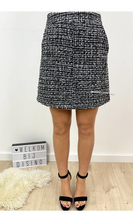 GREY - 'TWEETY' - GLITTERLY TWEED SKIRT WITH POCKETS