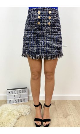 BLUE - 'TASYA' - FRINGE BUTTON TWEED SKIRT