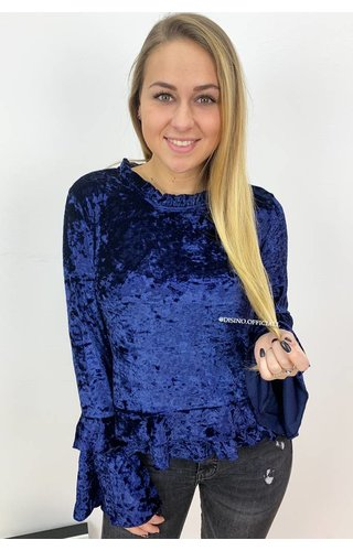 MIDNIGHT BLUE - 'ELLI' - CRUSHED VELVET BELL SLEEVE TOP