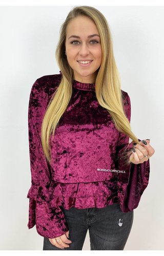 BURGUNDY - 'ELLI' - CRUSHED VELVET BELL SLEEVE TOP