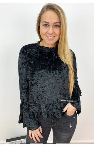 BLACK - 'ELLI' - CRUSHED VELVET BELL SLEEVE TOP