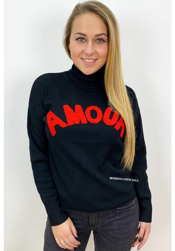 BLACK - 'AMORA' - AMOUR TEXT OVERSIZED COL TOP