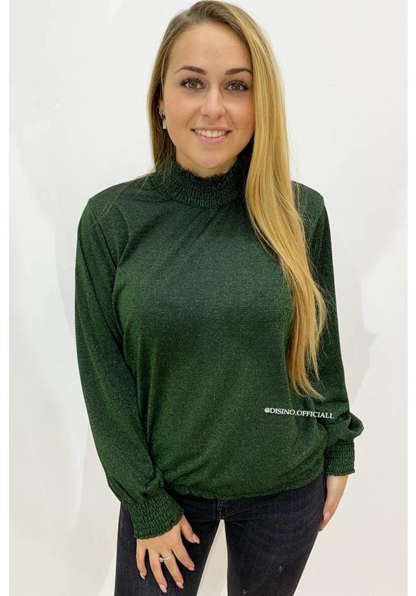 OLIVE GREEN - 'KATY' - GLITTERLY HIGH NECK BLOUSE