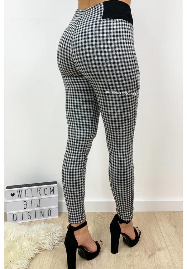WHITE - 'NANCY' - CHECKED HIGH WAIST TREGGING PANTS