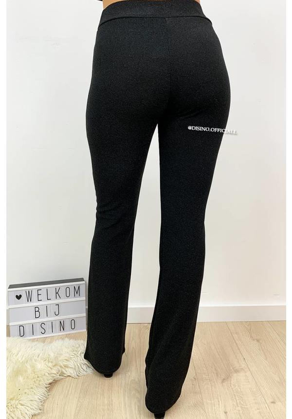 BLACK - 'LIMA' - SPARKLE FLARED PANTS