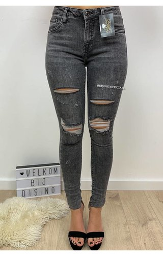 QUEEN HEARTS JEANS - GREY - SKINNY DISTRESSED - 9565