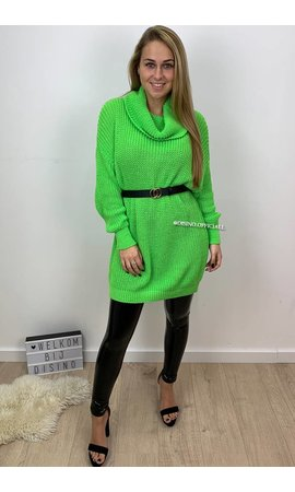FLUOR GREEN - 'CARMEN' - KNITTED OVERSIZED COL