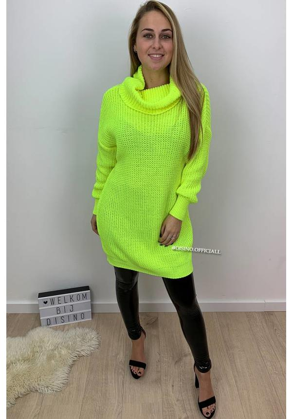 FLUOR YELLOW - 'CARMEN' - KNITTED OVERSIZED COL