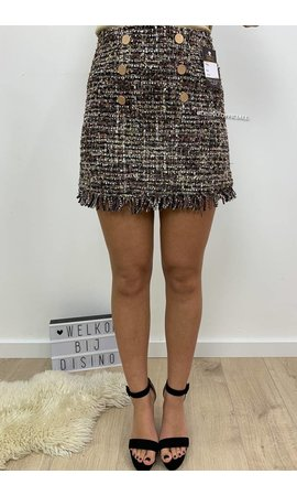 BROWN - 'TASYA' - FRINGE BUTTON TWEED SKIRT