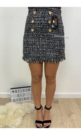 GREY - 'TASYA' - FRINGE BUTTON TWEED SKIRT