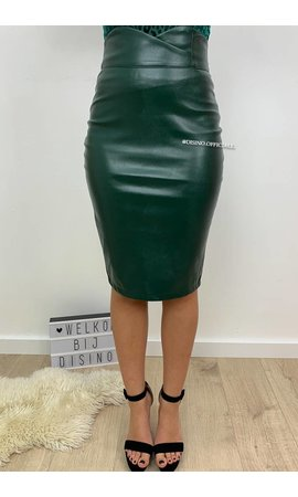 DARK GREEN - 'ASHLEY' - HIGH WAIST LEATHER LOOK PENCIL MIDI SKIRT
