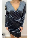 GREY - 'MELODIE' - VELVET OVERLAY DRESS