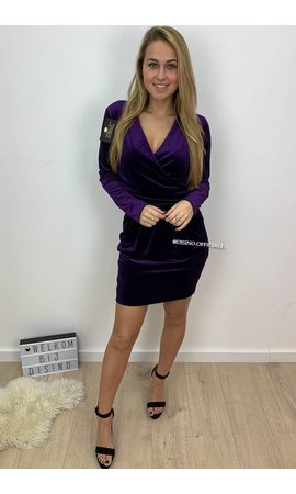 PURPLE - 'MELODIE' - VELVET OVERLAY DRESS
