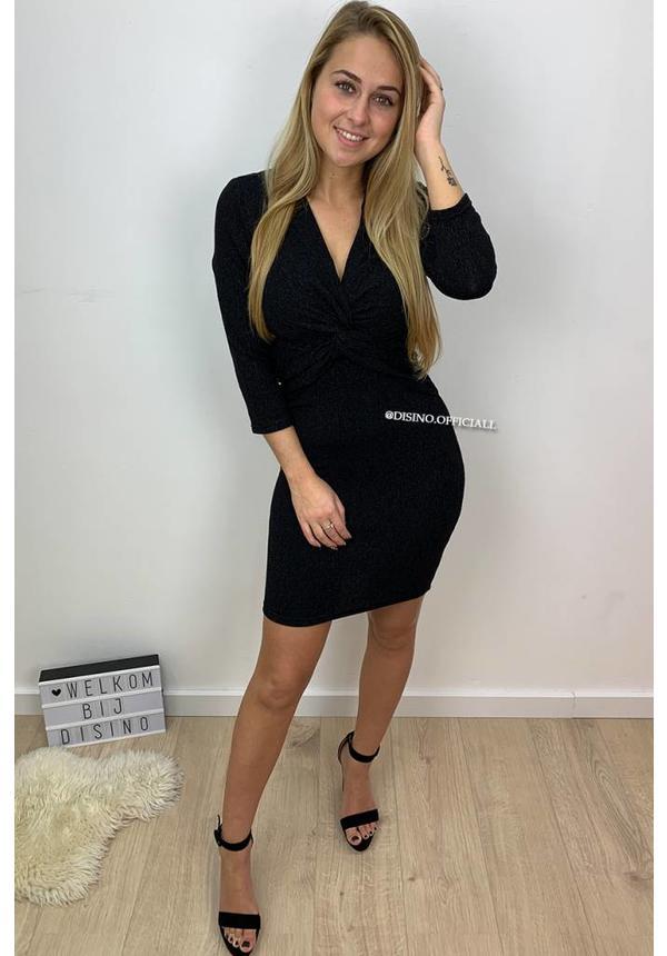 GLITTERLY BLACK - 'CATALINA' - KNOTTED LONGSLEEVE DRESS