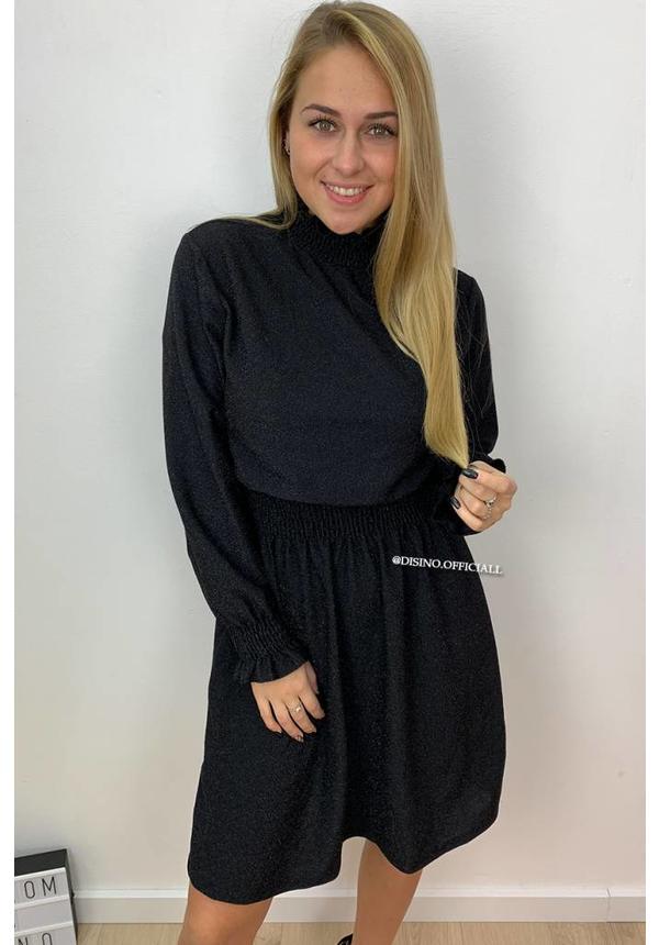 GLITTERLY BLACK - 'LUCIANA' - HIGH NECK A-DRESS
