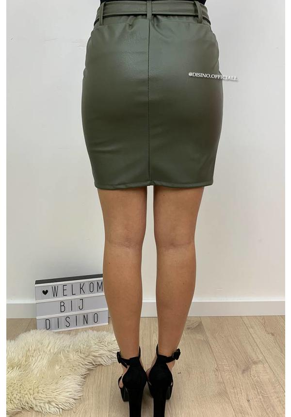 OLIVE GREEN - 'JADE' - LEATHER LOOK SKIRT