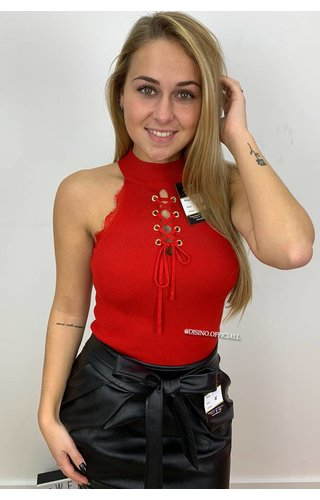 RED - 'RIBA' - RIBBED TIE UP TOP