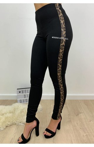 BLACK - LEOPARD STRIPED TREGGING PANTS